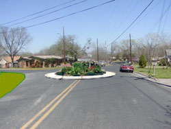Del Curto/Bluebonnet after adding traffic circle