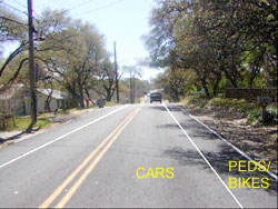 Clawson Road after adding lane stripes for ped/bike lane